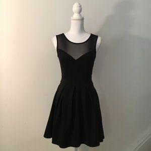 Black Structured Skater Skirt Sheer Chest Dress